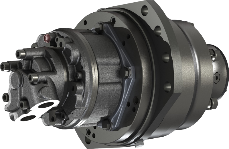 Hydraulic Wheel Drive System : Wheel drive unit planetary gearboxes drum brakes